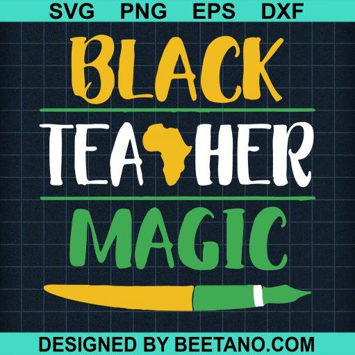 Black teacher magic svg
