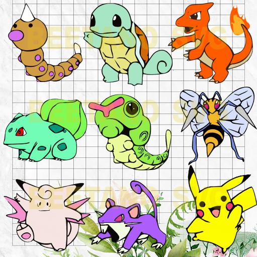 Pokemon Svg Bundle, Pokemon Character Svg Bundle, Pokemon Cutting Files, Pokemon Files For Cricut, Pokemon Cutting Files For Cricut, SVG, DXF, EPS, PNG Instant Download