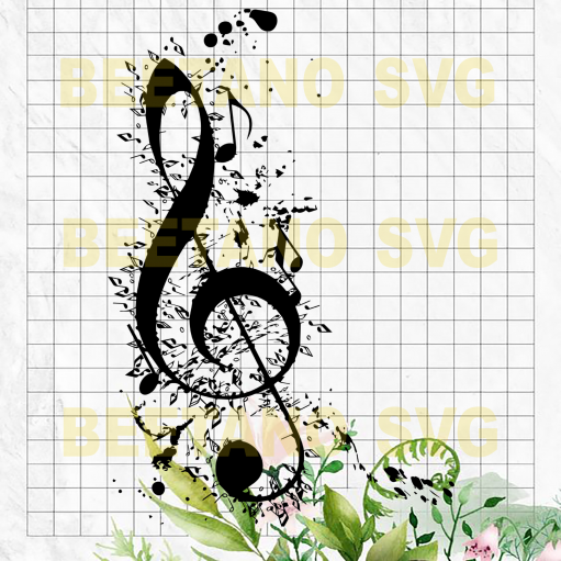 Music note Cutting Files For Cricut, SVG, DXF, EPS, PNG Instant Download