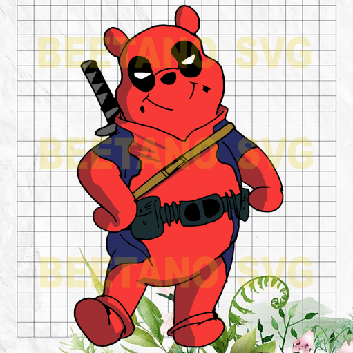 Winnie Pooh Svg, Deadpooh Svg, Winnie Pooh Files For Cricut, Funny Deadpooh Clipart, Winnie Pooh Cutting Files For Cricut, SVG, DXF, EPS, PNG Instant Download