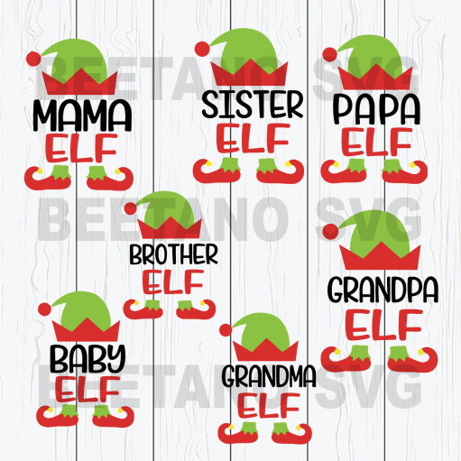 Family Elf Christmas Cutting Files For Cricut, SVG, DXF, EPS, PNG Instant Download