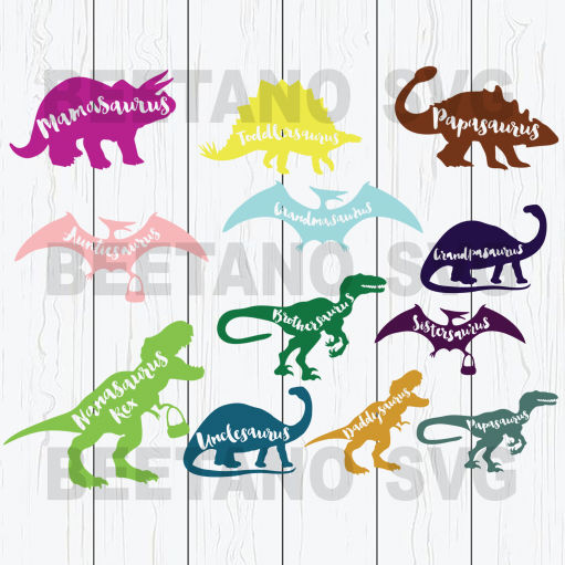 Mamasaurus family dinosaurs bundle Cutting Files For Cricut, SVG, DXF, EPS, PNG Instant Download