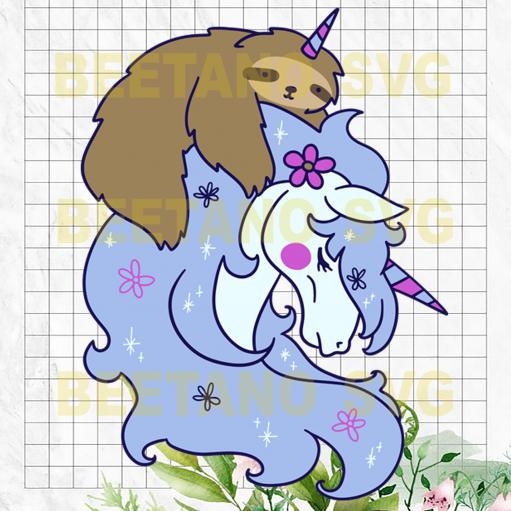 Funny Sloth Riding Unicorn