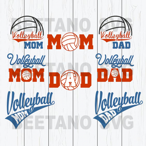 Volleyball Mom Volleyball Dad Svg Bundle, Volleyball Family Svg, Volleyball Svg Bundle, Volleyball Cutting Files For Cricut, SVG, DXF, EPS, PNG Instant Download