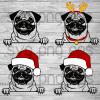 Pug SVG, christmas pug svg files, christmas svg, Santa pug, cute christmas dog svg cricut, xmas clipart, elk horn vector peeking Pet png, Santa svg