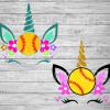 Softball Unicorn Svg Bundle Files For Cricut, SVG, DXF, EPS, PNG Instant Download