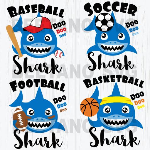 Baseball shark football shark baby doo doo doo