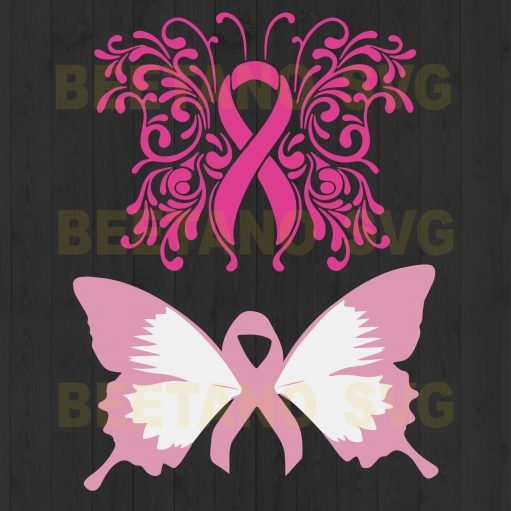 Pink Butterfly Breast Cancer Svg Bundle Files For Instant Download