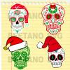 Sugar Skull Svg, Sugar Skull Christmas Svg Bundle, Christmas Sugar Skull Svg Dxf Png Eps Instant Download