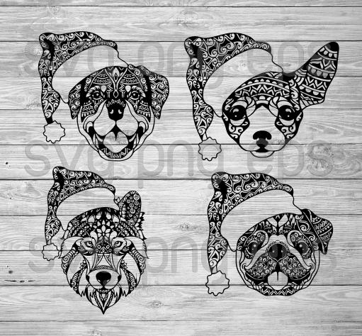 Mandala Christmas Dog Svg, Christmas dog SVG bundle, funny dog with Santa hat clipart cricut, christmas dog svg bundle, funny santa dog svg files