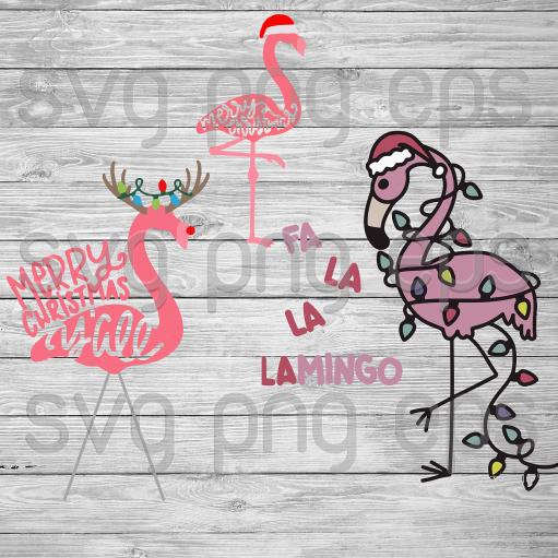 Merry Christmas Svg Bundle, Flamingo Santa Hat Svg, Flamingo Svg, Flamingo Svg Christmas Svg Bundle Files For Cricut, SVG, DXF, EPS, PNG Instant Download