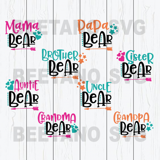 Mama bear family bundle Files For Cricut, SVG, DXF, EPS, PNG Instant Download
