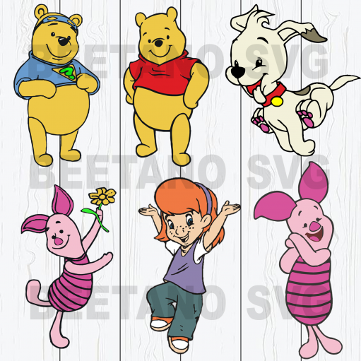 Winnie-the-Pooh character bundle Files For Cricut, SVG, DXF, EPS, PNG Instant Download