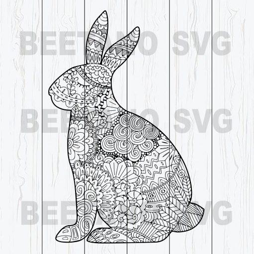 Mandala Bunny Svg, Bunny Easter Svg Files, Mandala Rabbit Svg, Happy Easter Svg Files