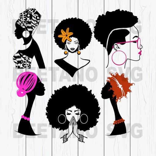 Afro women black girls svg