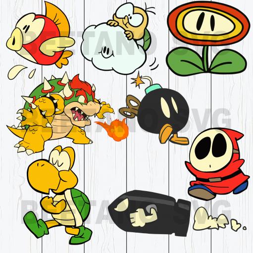 Super Mario Svg Bundle, Game Svg Bundle, Super Mario Clipart, Super Mario Cutting Files For Cricut, SVG, DXF, EPS, PNG Instant Download