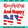 Merry Christmas And Happy New Year Us Flag