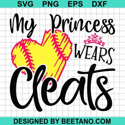 My Pricess Wears Cleats Softball Mom