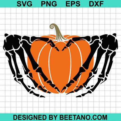 Pumpkin In Skeleton Hands