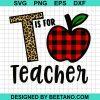 T Is For Teacher Leopard Buffalo Plaid Apple