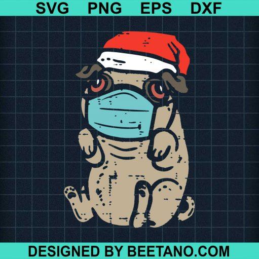 Top Santa Pug In Mask Ugly Christmas Quarantine Dog