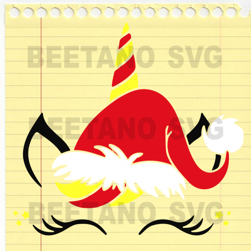 Unicorn Santa Hat Svg, Funny Unicorn Svg Files For Cricut, SVG, DXF, EPS, PNG Instant Download - BeetanoSVG Scalable Vector Graphics