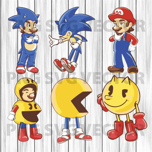 Mario sonic pacman svg, funny mario svg, funny sonic svg, sonic svg, pacman clipart, pacman svg, mario svg, sonic clipart