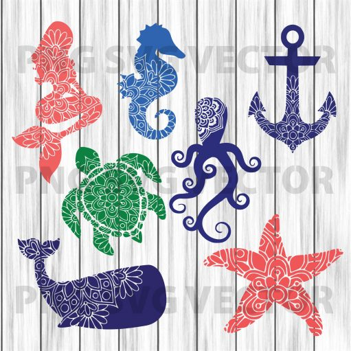 Mandala Sea creature svg, sea creature clipart, sea animal svg, sea creature cutting file, sea creature file for cricut