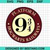 Plaform 9 3/4 harry potter svg